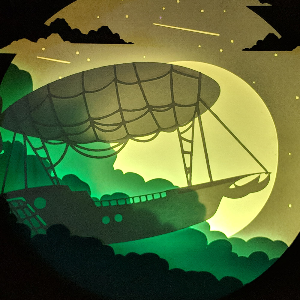 Air Ship Trip Paper Art Light Box